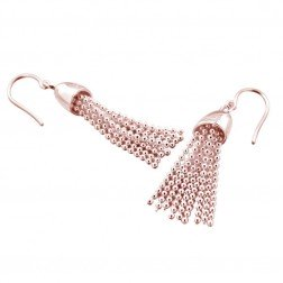 Boucles d'oreilles finition dorée pour femme - Pampille rose - Lyn&Or Bijoux