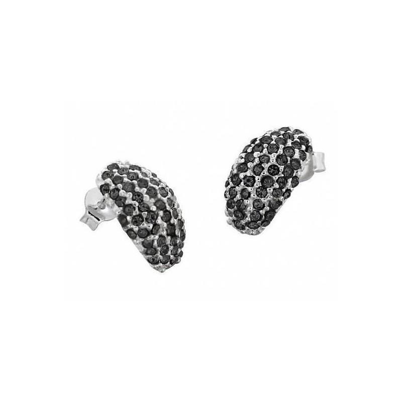 Boucles d'oreille créateur pour femme en argent & Swarovski noir - Demi-Lune - Lyn&Or Bijoux