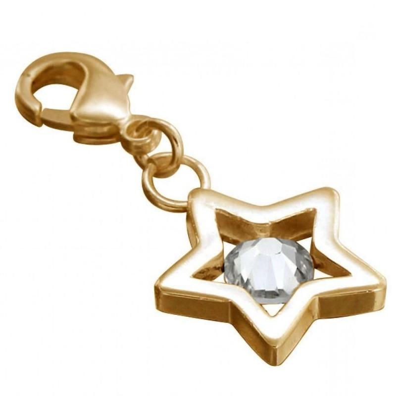 charms plaqué or en forme d'étoile, fermoir mousqueton, cristal de Swarovski, Créateur Zoé Bijoux