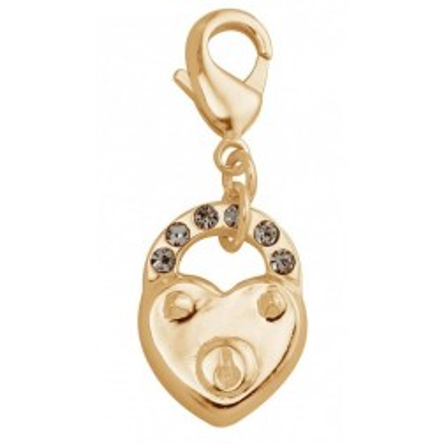 Charm mode femme LZ en plaqué or, cristal de Swarovski - coeur cadenas