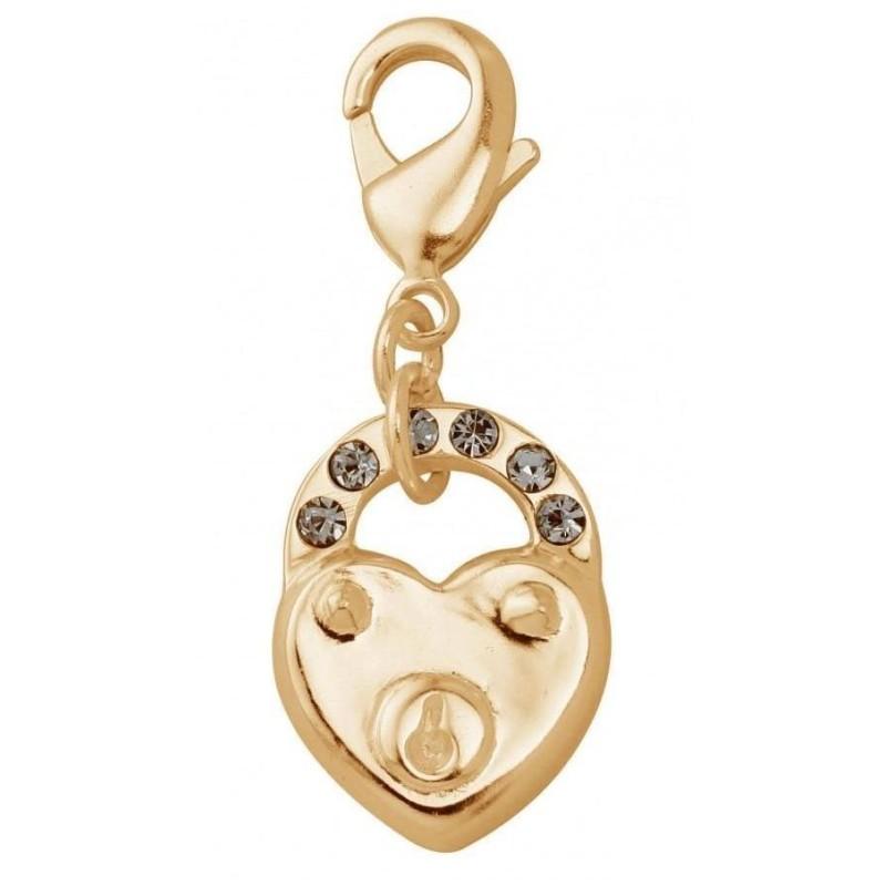 Charm femme en plaqué or, cristal de Swarovski, coeur cadenas