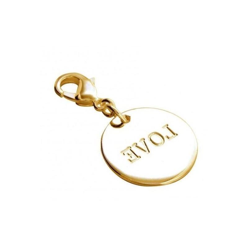 Charm tendance pour femme LZ en plaqué or, Médaille Love
