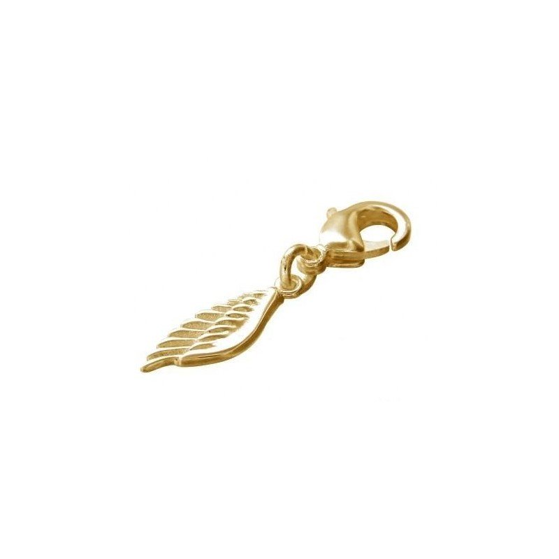 charms plaqué or en forme d'aile, fermoir mousqueton, Créateur Zoé Bijoux - Accessoire Femme