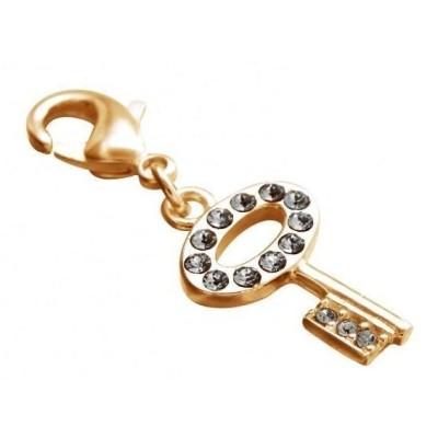 Charm pour femme LZ en plaqué or, cristaux de Swarovski, Clé