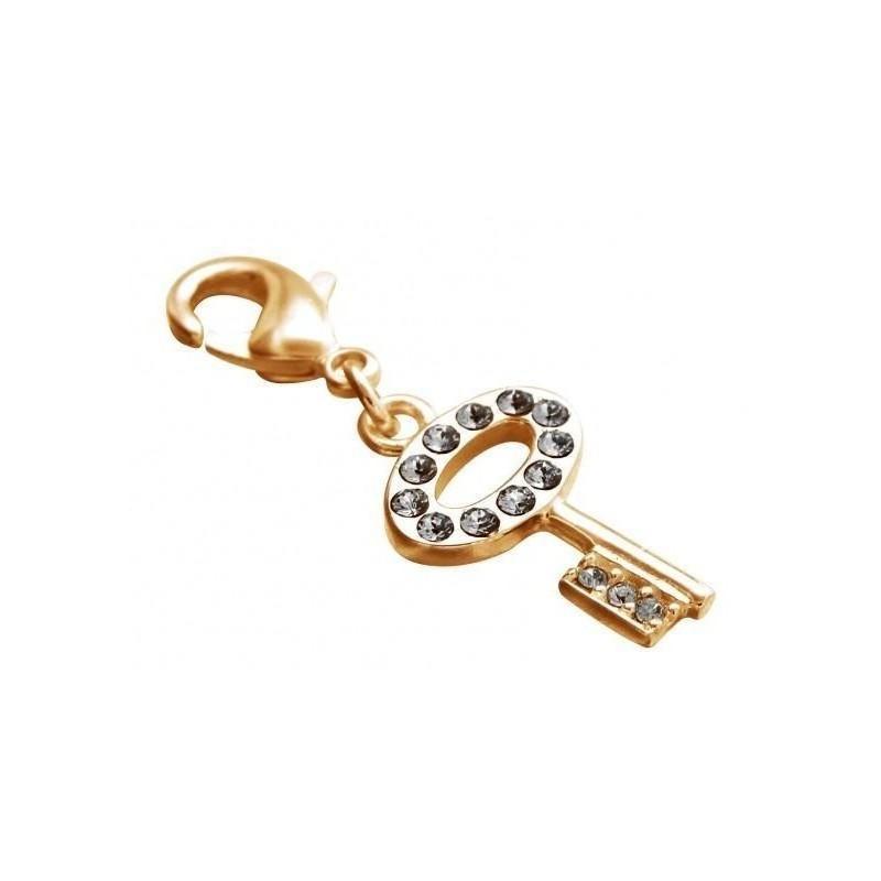 Charm tendance pour femme LZ plaqué or, cristaux de Swarovski, Clé
