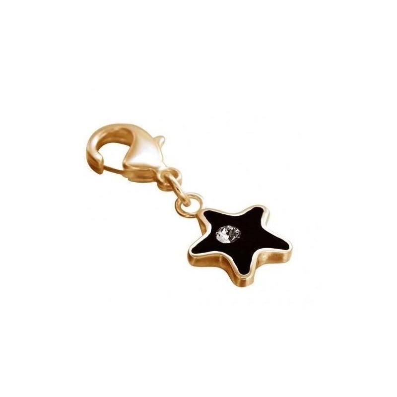 Charm LZ plaqué or, résine noire, cristal de Swarovski, Black Star