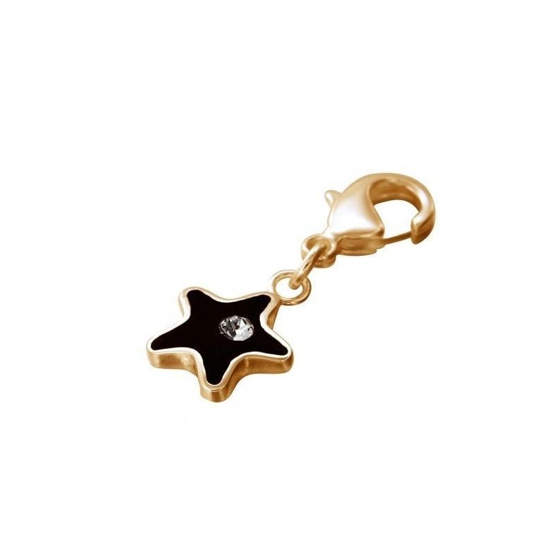 Charm en plaqué or, résine noire, cristal de Swarovski, Etoile