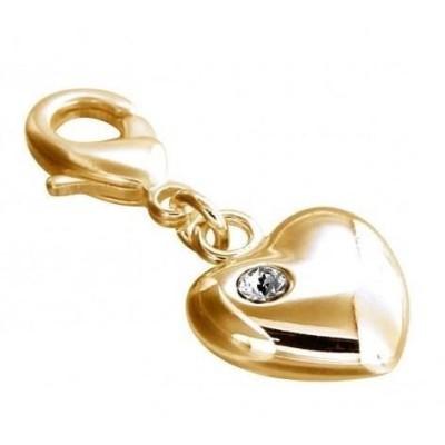 Charm plaqué or, résine noire, cristal de Swarovski, Coeur blanc