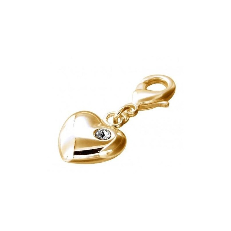 Charm coeur noir, finition dorée et Swarovski pour femme - Light-Heart - Lyn&Or Bijoux