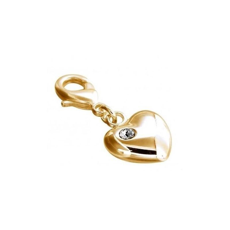 Charm LZ plaqué or, résine noire, cristal de Swarovski, Light Heart