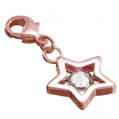 Charm en plaqué or rose, cristal de Swarovski Louise Zoé - Etoile