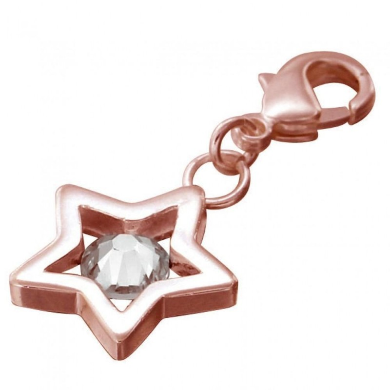 Charm ou breloque Etoile en plaqué or rose, cristal de Swarovski