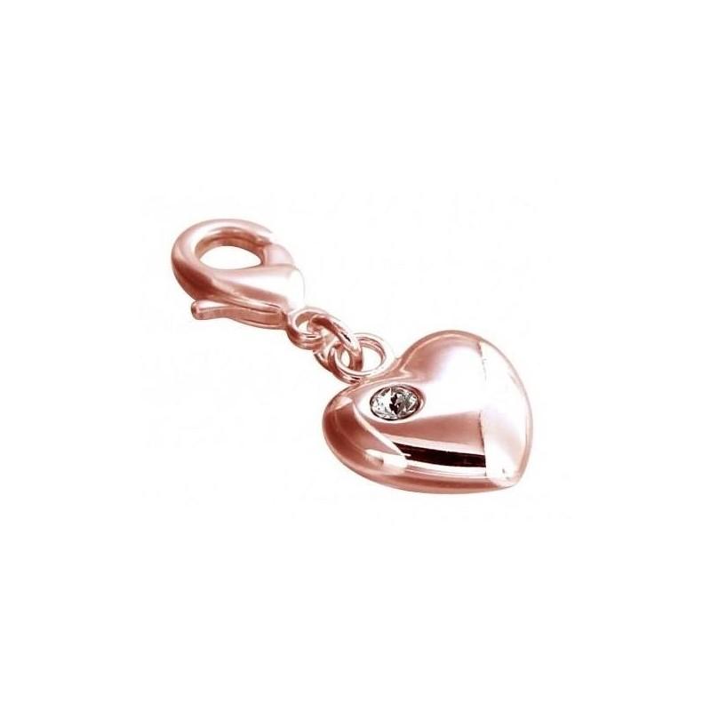 Charm LZ plaqué or rose, résine noire, cristal de Swarovski, Light Heart