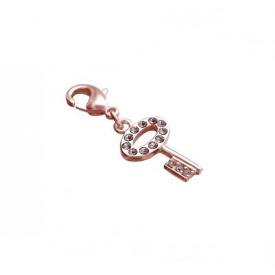 Charm pour femme LZ en plaqué or rose, cristaux de Swarovski, Clé