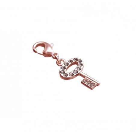 Charm tendance pour femme LZ plaqué or rose, cristaux de Swarovski, Clé