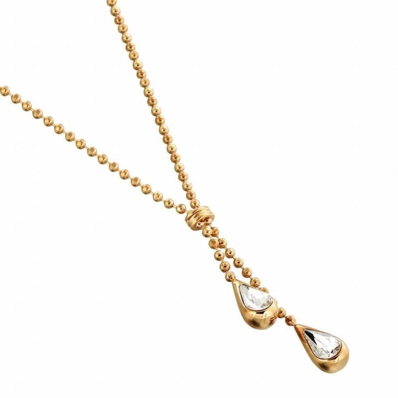 collier femme en plaqué or et cristal de Swarovski, Gouttelettes