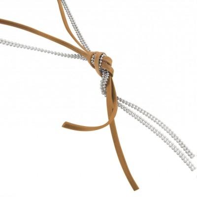 collier fantaisie sautoir femme en argent, de cordon cuir beige - Noeud