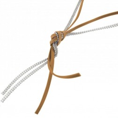 collier fantaisie sautoir femme argent - de cordon cuir beige - Noeud