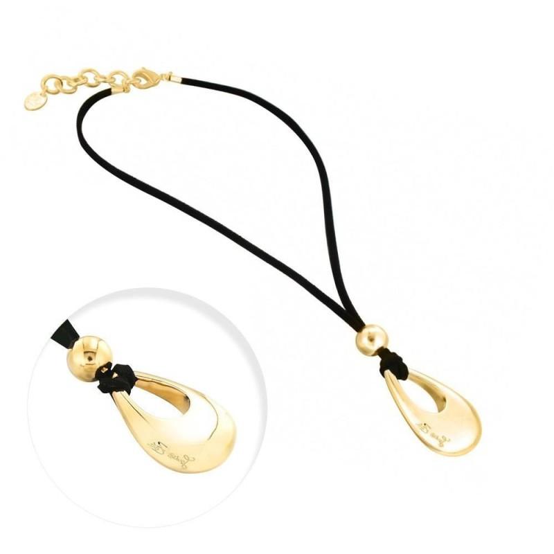 collier fantaisie en plaqué or et suédine noire, Pampille griffée