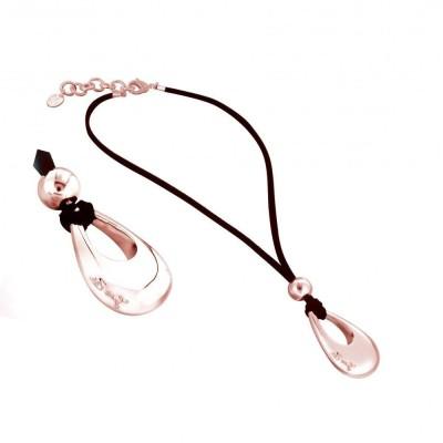 collier fantaisie femme en plaqué or rose et suédine noire Zoé Bijoux - Pampille griffée