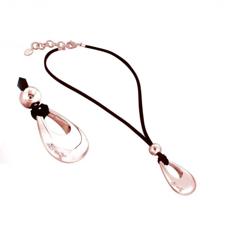 Collier finition dorée rose, cordon noir pour femme - Goutte griffée - Lyn&Or Bijoux