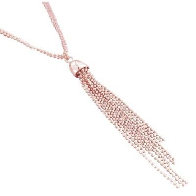 collier fantaisie sautoir femme plaqué or rose Zoé - Pampilles