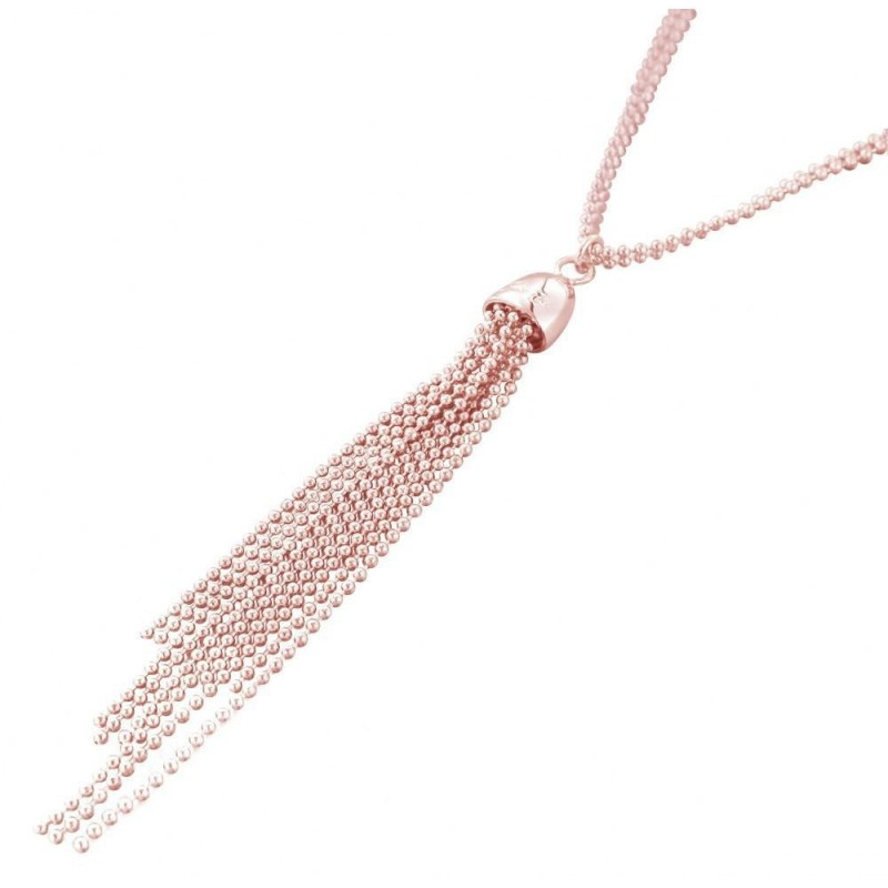 collier fantaisie sautoir femme en plaqué or rose Zoé, Pampilles