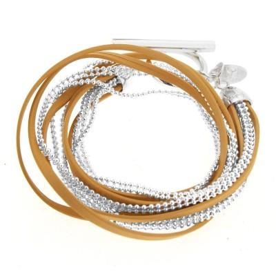 Bracelet gourmette pour femme en argent et cuir beige, Symbio