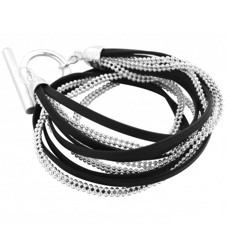 Bracelet gourmette pour femme en argent et cuir noir, Symbio