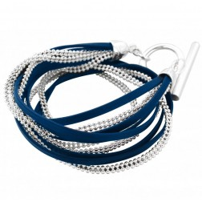 Bracelet gourmette tendance pour femme en argent et cuir bleu nuit Louise Zoé Bijoux - Symbio