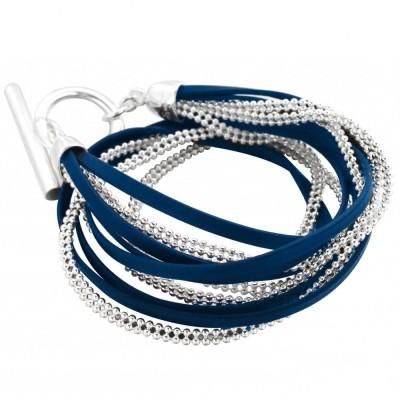 Bracelet gourmette pour femme en argent et cuir bleu nuit, Symbio