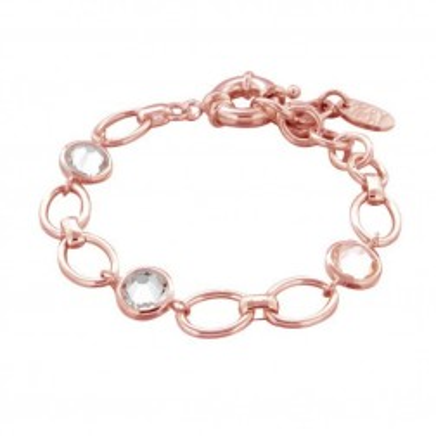 Bracelet gourmette tendance pour femme en plaqué or rose et cristaux de Swarovski® - Banji