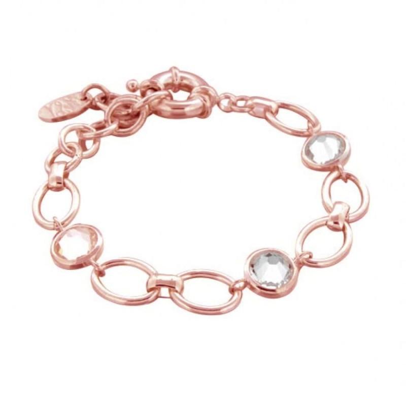 Bracelet finition dorée rose et Swarovski pour femme - Banji - Lyn&Or Bijoux