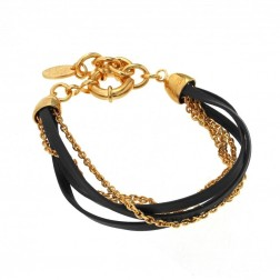Bracelet tendance femme, finition dorée & cuir noir pour femme - Zyka - Lyn&Or Bijoux
