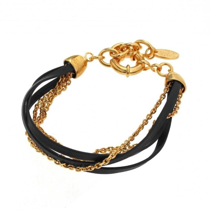 Bracelet tendance femme en plaqué or et cuir noir, création Zoé Bijoux