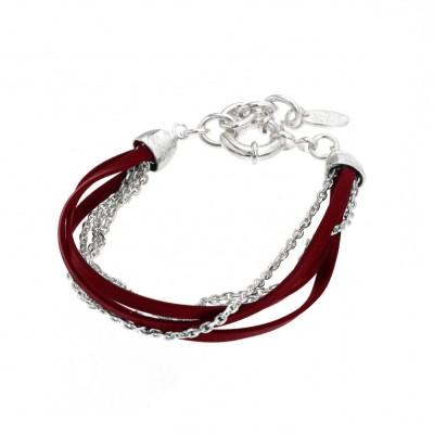 Bracelet gourmette pour femme en argent et cuir rouge, Zyka