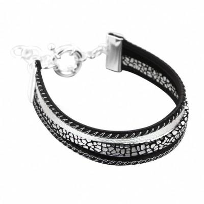 Bracelet gourmette tendance pour femme en argent et cuir noir Louise Zoé Bijoux - Gynko