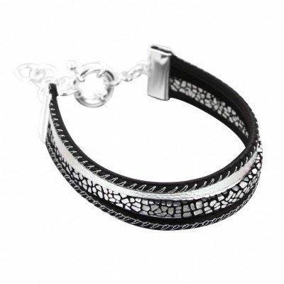 Bracelet manchette en argent et cuir noir pour femme - Gynko - Lyn&Or Bijoux