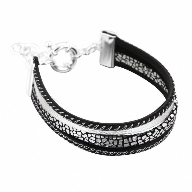 Bracelet gourmette pour femme en argent et cuir noir, Gynko