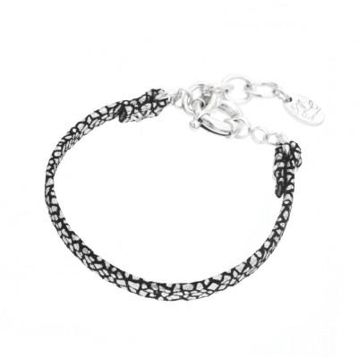 Bracelet gourmette tendance pour femme en argent et cuir noir craquelé Louise Zoé Bijoux - Manca