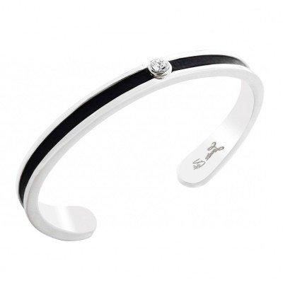 Bracelet jonc en argent, cuir noir, Swarovski pour femme - Badya - Lyn&Or Bijoux