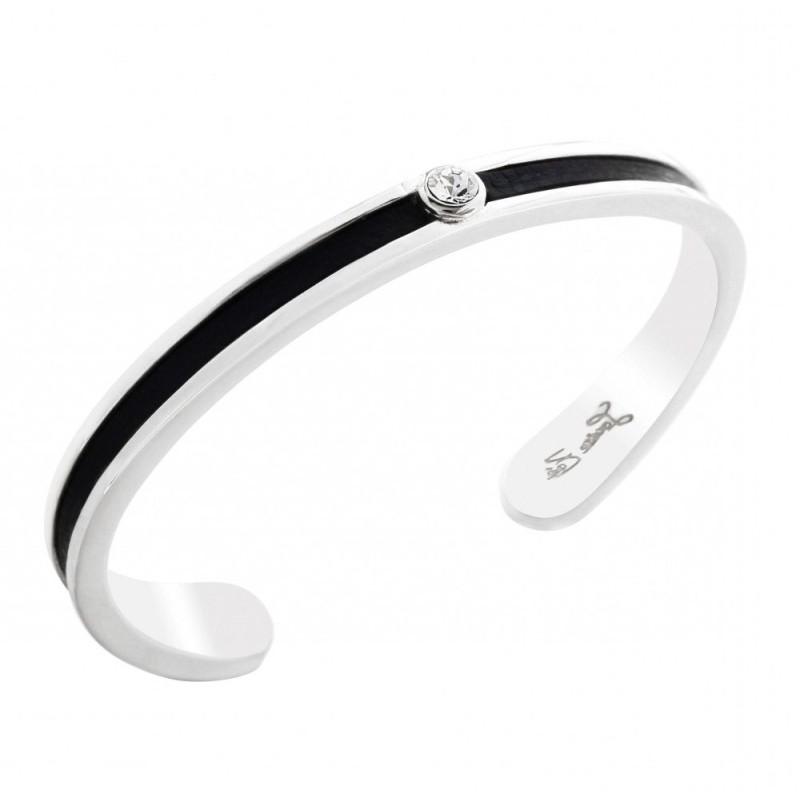 Bracelet Jonc en argent, cuir noir et cristal de Swarovski, Badya