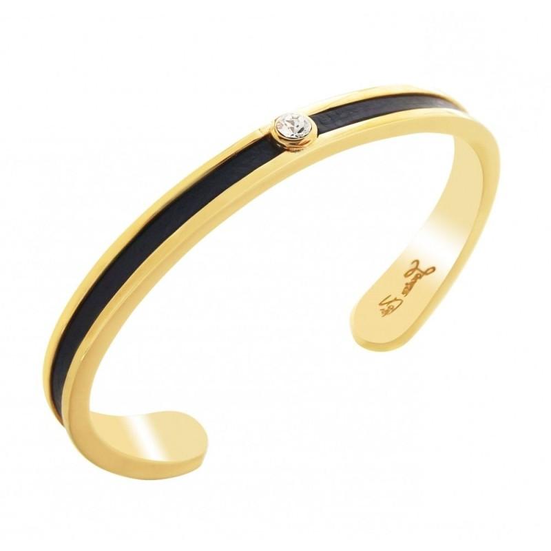 Bracelet Jonc plaqué or, cuir noir et cristal de Swarovski, Badya