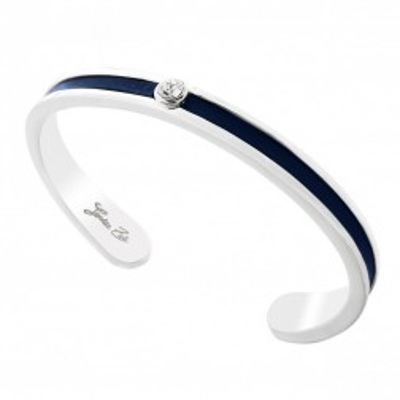 Bracelet Jonc en argent, cuir bleu nuit, cristal de Swarovski