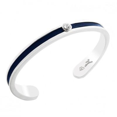 Bracelet Jonc tendance femme en argent, cuir bleu nuit et cristal de Swarovski - Badya