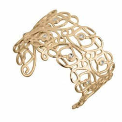 Bracelet Jonc tendance femme plaqué or et cristal de Swarovski, Reine