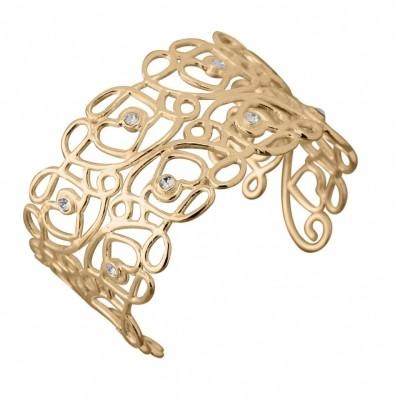 Bracelet manchette finition dorée et Swarovski pour femme - Reine - Lyn&Or Bijoux