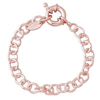 Bracelet finition dorée rose pour femme - Gourmette charms - Lyn&Or Bijoux