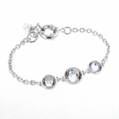 Bracelet gourmette tendance pour femme en argent, cristal de Swarovski - Trystel
