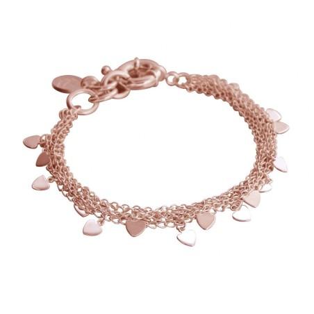 Bracelet coeur en plaqué or rose LZ - Myriade